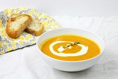 Roasted Carrot and Parsnip Soup With Lemon Ginger Cream. 16 Slurp-Worthy Winter Soups.