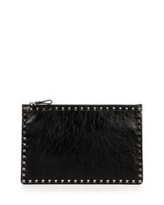 Rockstud+Large+Crinkled+Leather+Pouch+Bag,+Black+by+Valentino+at+Bergdorf+Goodman.