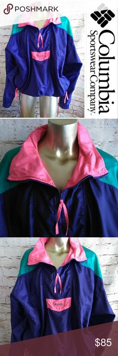 Vintage Like New Columbia windbreaker OMG Vintage color block neon purple Columbia windbreaker. Oversized top. Size tag reads Men L. Wear it around campus, or for an outdoor activities in Spring. Looks great with leggings and Hunter rain boots. Columbia Tops Sweatshirts & Hoodies