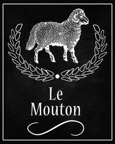Sheep Le Mouton French Chalkboard Printable Digital Download Poster Graphic Instant Image