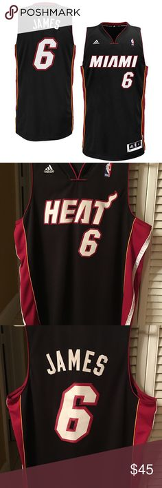 Lebron James Adidas Miami Heat Jersey Size Men's L New without tags Stitched jersey never worn Lebron James Miami Heat Jersey Adidas Men's Large Black And Red adidas Other