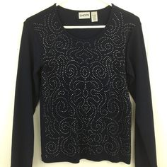 Chico's 0 Small Knit Top Navy Blue Silver Studded Long Sleeve Artsy T Tee Blouse #Chicos #KnitTop #Casual