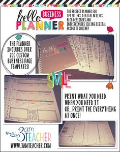 Meet The Hello Business Planner/Calendar by The 3AM Teacher! Over 200 pages with editable options for any year! This planner includes everything from daily planning to financial planning all in one.