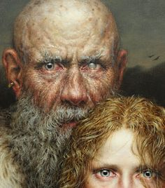 """Necessitas"" 2009 (Detail) by Dino Valls ,Oil, gold leaf and silver leaf on wood 130 x 100 cm .Dino Valls is a Spanish painter born in 1959."