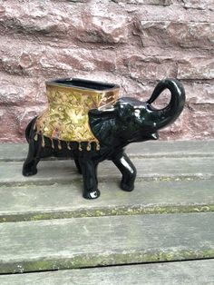 Cameron Clay Elephant Planter 24K Weeping Gold on Black / American Art Pottery Vase / Rare & Mint! / Luck and Good Fortune Symbol by ThePinkVintageRose on Etsy