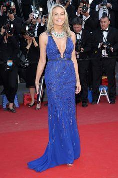 Cannes : la montée des marches de Behind the Candelabra // Sharon Stone en Roberto Cavalli.