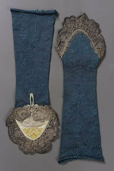 Mitts: ca. 18th century, Italian, silk knit embroidered in silk, trimmed with metallic bobbin lace.