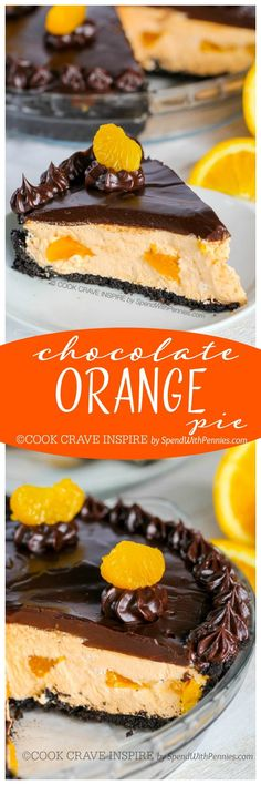 (This is my favorite pie)! This easy no bake dessert starts with an Oreo cookie crust filled with a fluffy orange cream filling and is topped with a rich chocolate ganache! Easy Chocolate Ganache, Chocolate Orange, Chocolate Desserts, Chocolate Cookies, Tart Recipes, Baking Recipes, Cookie Recipes, Dessert Recipes, Yummy Recipes
