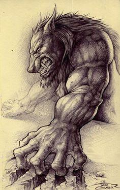 Werewolve sketch by garciar