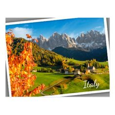 Autumn in a Dolomites landscape with church Postcard - postcard post card postcards unique diy cyo customize personalize
