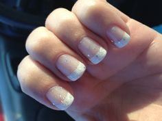 Gel French tip with OPI Which is Witch glitter.