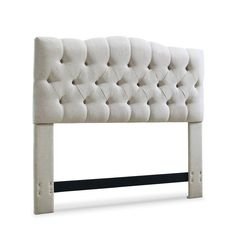 Anchor an elegant master suite ensemble with this lovely headboard, showcasing diamond-tufted upholstery for classic appeal. Add an elegant centerpiece to your bedroom with this Cleveland-style headboard. Button-tufted upholstery and a curved silhouette create a soft, inviting feel that's ideal for your master suite. Easily attached to a standard full, queen, or king-sized bed, it also includes a solid wood reinforcement bar for increased stability.