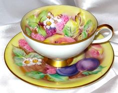ORCHARD FRUITS & YELLOW HAND PAINTED TEA CUP AND SAUCER LEFTON CHINA JAPAN #HandPaintedFruitsVintageChinaTeaCupandSAuc #LamoreChinaGZLLeftonChinaJapan
