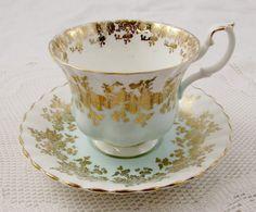 Royal Albert Pale Blue Regal Series Tea Cup and Saucer, Vintage Bone China