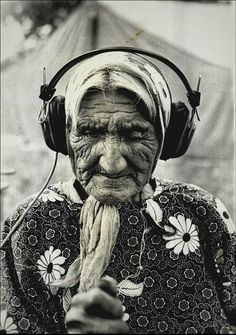 Katie Osage, the oldest livng Cheyenne person, listens to her recorded voice October 19, 1975 during a break in filming Bob Dotson's documentary on the Cheyenne/Arapaho. Oklahoma City, OK. WKY-TV, NBC. https://www.youtube.com/watch?v=3Adr3VNI06A