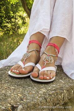 Pink beaded barefoot sandals Beach wedding bottomless sandals