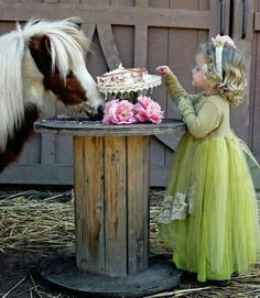 Oh my goodness, a tea party with a pony! Little girl in beautiful green dress sharing her cake with a cute little paint colored pony with a cute busy mane! That pony is really liking the cake! Beautiful Children, Beautiful Horses, Precious Children, Pretty Horses, Majestic Horse, Simply Beautiful, Little People, Little Girls, Sweet Girls