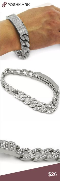 """9"""" INCH ICED OUT HIP-HOP BRACELET 9"""" INCH ICED OUT HIP-HOP BRACELET  Bracelet Specifications  Length - 9"""" Inches Stone Color - Clear Cubic Zirconia Metal Color - Silver Tone Accessories Jewelry"""