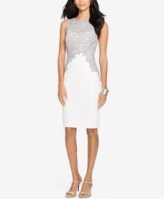 Lauren Ralph Lauren Lace Crepe Dress $194.00 This sophisticated dress from Ralph Lauren is crafted from soft stretch crepe and designed with chic lace trim. Party/cocktail sheath dress.