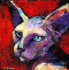 Cat Painting - Sphynx Sphinx Cat Painting  by Svetlana Novikova