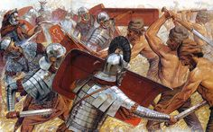Falxmen vs Romans by Peter Connolly. • Using the falx, the Dacian warriors were able to counter the power of the compact, massed Roman formations. During the time of the Roman conquest of Dacia (101 - 102, 105 - 106), legionaries had reinforcing iron straps applied to their helmets. The Romans also introduced the use of leg and arm protectors (greaves and manica) as further protection against the falxes. - en.wikipedia.org