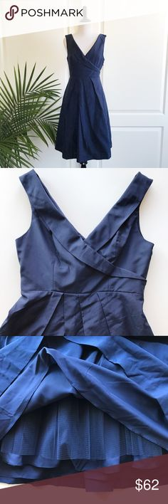 """Anthro V Neck Bridesmaid / Wedding Party Dress Anthropology wedding brand BHLDN """"There's only you and me"""" Navy V neck Bridesmaid / Wedding Party Dress  *Size 6 - Underarm to underarm : 18"""" flat / Waist : 14.5"""" flat / Approximate length from shoulder to hem: 38"""" *Sleeveless / V neck and V back / Side zipper closure / Full skirt / Navy color  *Self: 60% cotton and 40% silk / Lining : 100% polyester - Dry clean *New without tags. No flaws. *No trade Anthropologie Dresses Wedding"""