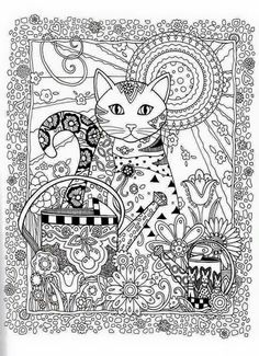 Cat Abstract Doodle Zentangle Paisley Coloring pages colouring adult detailed advanced printable  vidrinhospreciosos.blogspot.com