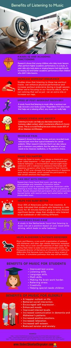 Benefits of Listening to Music Infographic - http://elearninginfographics.com/benefits-listening-to-music-infographic/
