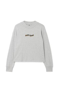 The Words Text T-shirt has an oversized fit, a simple round neck and softly ribbed edges. It is made from soft cotton jersey with a grey mélange finish and has a small statement print in front. - Size Small measures 120 cm in chest circumference and 59 cm in length. The sleeve length is 55 cm.