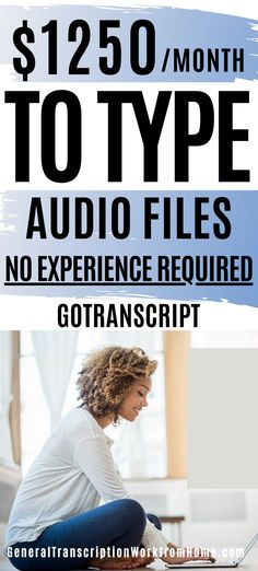Make up to $1215 a month typing audio files. Y Get transcription Jobs from home for beginners with GoTranscript. No experience required. Get paid weekly. Flexible hours. Gotranscript has work from home beginner typing jobs worldwide. This is one of the easiest transcription companies to get started with. Read my Review. You can make money from home with these legitimate typing jobs from home. Typing Jobs From Home, Online Typing Jobs, Online Side Jobs, Best Online Jobs, Work From Home Jobs, Make Money From Home, Make Money Online, How To Make Money, Transcription Jobs From Home