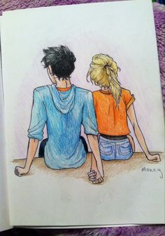 Feelin the Percabeth. Credit Monzy By: Abigail Conner Percy Jackson Annabeth Chase, Percy Jackson Fan Art, Percy And Annabeth, Percy Jackson Memes, Percy Jackson Books, Percy Jackson Fandom, Percabeth, Couple Drawings, Love Drawings