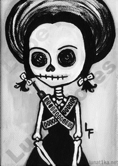 Adelita 5x7 Day of the Dead art print Mexican by ArtByLupeFlores, $6.99