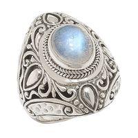 Samuel B. Sterling Silver Rainbow Moonstone Balinese Design Oval Ring
