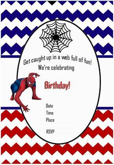 Free Printable Birthday Card Template Free Printable Spiderman Party Invitations On Www.thepartywebsite .