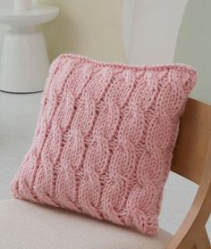 Big Cables Pillow Free Knitting Pattern from Red Heart Yarns