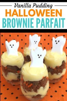 Make these easy Halloween goodies Brownie Parfaits! Start by making a pan of homemade brownies! Easy to make and fun to eat Brownie parfaits for Halloween Halloween Goodies, Halloween Desserts, Easy Halloween, Halloween Treats, Halloween Party, Cocoa Powder Brownies, Chocolate Brownies, Pumpkin Recipes, Fall Recipes