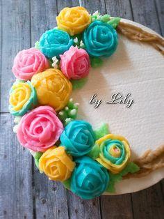 My flower jelly cream Jelly Cream, Jelly Cake, Jello Recipes, Cream Flowers, Puddings, My Flower, Cake Cookies, Tart, Cake Decorating