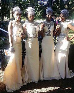 Nigerian wedding - bridesmaids in cream dresses