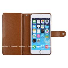 """iPhone 6 Plus Case,[Brown] Luxury [Dual Wallet] [Wristlet] Cow Leather [7 Card Slot] [Standing] Book Wallet Flip Case Cover for Apple iphone 6 Plus 5.5"""" inches"""