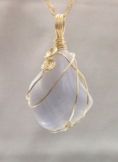 Natural Blue Lace Agate Pendant made of 14k gold filled  wire wrapped,   Handcrafted,  One of a kind Jewelry