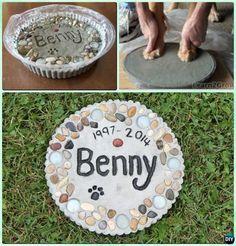 DIY Puppy Paw Print Memory Garden Stepping Stone Instruction --Paw Print Craft Ideas Projects #Dog, #Garden #catsdiyideas