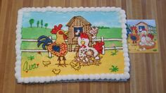 Barnyard birthday cake for a 2 year old. It matched the party napkins and invitations.