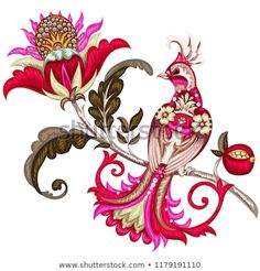 Find Embroidery Paradise Bird On Fantasy Flower stock images in HD and millions of other royalty-free stock photos, illustrations and vectors in the Shutterstock collection. Thousands of new, high-quality pictures added every day. Jacobean Embroidery, Embroidery Patterns, Bird Embroidery, Cute Tattoos, Flower Tattoos, Bird Prints, Floral Prints, Fantasy, Vector Flowers