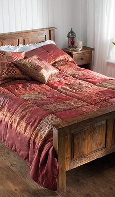 Patchwork sari brocade Indian quilt