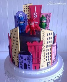 This was created by for a very special Pj Masks Headquarters, Pj Masks Birthday Cake, Fondant, Superhero Cake, Mask Party, Cupcake Cakes, Kid Cakes, Birthday Decorations, Cake Designs