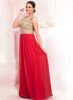 We unfurl our the intricacy and exclusivity of our creations highlighted with this red faux georgette floor length gown. This lovely attire is displaying some extraordinary embroidery done with sequin...