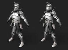 ArtStation - Clone Troopers - Part 3 - Wolfpack (Movie Battles Mace Madunusus Star Wars Clone Wars, Star Wars Art, Captain America Suit, Star Wars Images, Custom Action Figures, Clone Trooper, Trek, Battle, Sci Fi