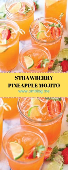 You can easily transform this strawberry pineapple mojito to a non-alcoholic drink! Sweet tropical twist to everyone's favorite cocktail! This recipe perfect for parties and entertaining. Fruity Drinks, Fun Cocktails, Refreshing Drinks, Fun Drinks, Cocktail Recipes, Mixed Drinks, Cocktail Drinks, Cocktail Ideas, Recipes Dinner
