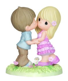 Precious Moments Boy and Girl Standing on Heart Base Figurine