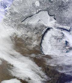 This photo from NASA of the lake-effect clouds over Michigan
